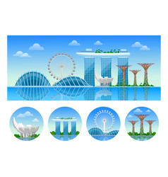 singapore panoramic view of the city at day vector image