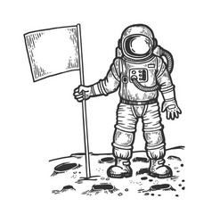 Spaceman on moon with flag engraving vector