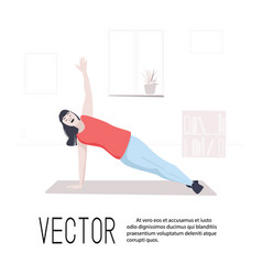 Sport training woman in plank art girl vector