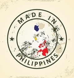 Stamp with map flag of philippines vector