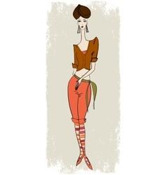 Stylish girl in breeches vector