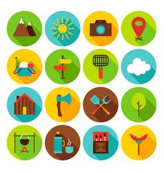 Summer camping circle icons set vector