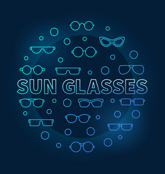 Sun glasses blue round made vector