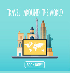 travel around the world vacation booking flat vector image