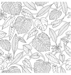 Tropical seamless pattern with lianas monstera vector