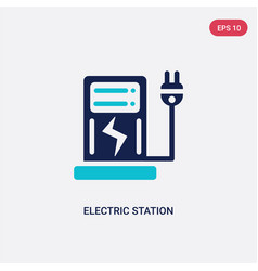 two color electric station icon from ecology vector image