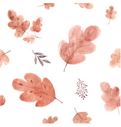 Watercolor seamless pattern autumn oak leaves vector