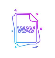 wav file type icon design vector image