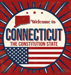 welcome to connecticut vintage grunge poster vector image