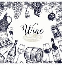 wine hand drawn vector image