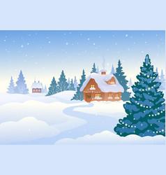 Winter day village vector