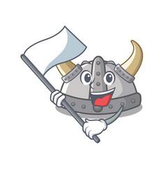 With flag viking helmet in a cartoon vector