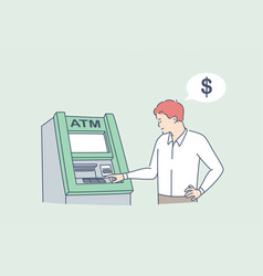 withdrawing money on atm concept vector image