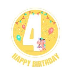 yellow circle with number 4 for a birthday vector image