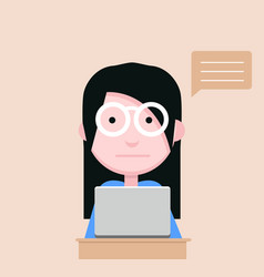 Young woman use computer flat design vector