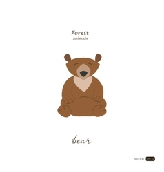 Bear in cartoon style on white background vector image