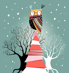 Christmas card with an owl on the tree vector image vector image