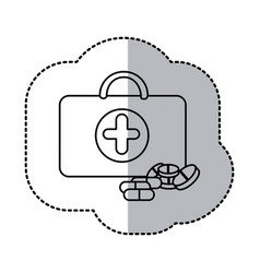 contour suitcase health with treatment icon vector image
