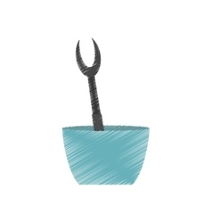 Drawing grilled fork bowl utensil kitchen vector