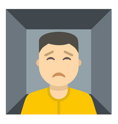 man trapped in a box icon isolated vector image