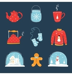 Set of christmas and winter holidays design vector
