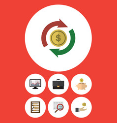 flat icon incoming set of chart counter hand vector image