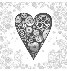 gearwheel heart-shaped mechanism background vector image