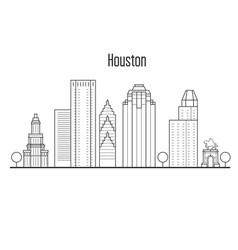 houston skyline - downtown cityscape vector image