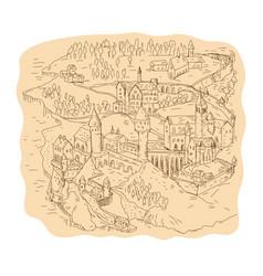 medieval fantasy map drawing vector image