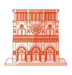 orange silhouette shading cartoon building vector image