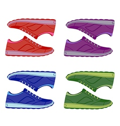 Pair unisex colored suede sneakers shoes side view vector image vector image