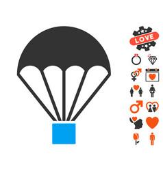 parachute icon with love bonus vector image vector image