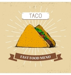 Taco fast food in vintage vector image