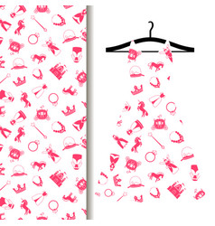 women dress fabric with princess pattern vector image vector image