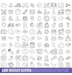 100 scout icons set outline style vector image