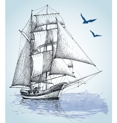 Boat drawing Sailboat sketch vector image vector image