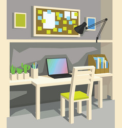 interior of workplace in cartoon style vector image