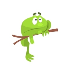 Sad Green Frog Funny Character Hanging From The vector image