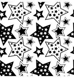 Black and white pattern with stars vector image vector image