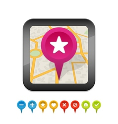 black gps navigator icon with labels vector image