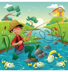 Cartoon scene with fisherman and fish vector image