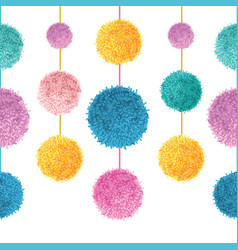 Colorful birthday party pom poms on strings vector