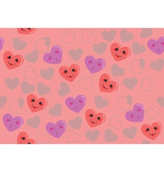 Cute hearts pink pattern vector image
