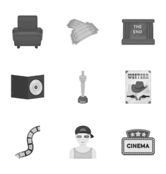 Films and cinema set icons in monochrome style vector image vector image