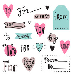 set of hand drawn catchwords vector image