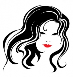 vintage woman with beautiful long hair vector image