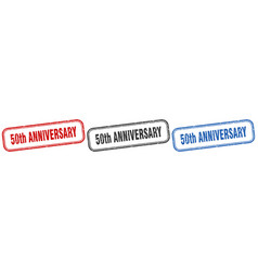 50th anniversary square isolated sign set 50th vector