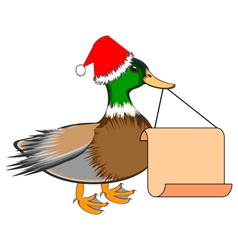 A christmas duck with blank paper in his beak vector