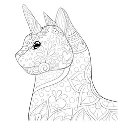 Adult coloring bookpage a cute uni-cat with vector