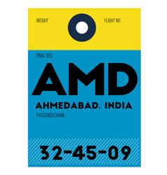 Ahmedabad airport luggage tag vector